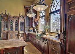 Gothic kitchen design featured with elements of stone, arches reminiscent  of cathedrals during the Middle Ages and stained glass.