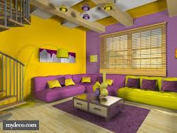 Nice This Yellow And Purple Room Is Very Cool. The Colors Are Evened Out On Each