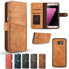 leather flip cover case for samsung galaxy s7 edge card slot wallet case shockproof dirt resistant removable protective back shell wallet cell phone case
