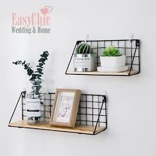 industrial metal wire wood wall shelf
