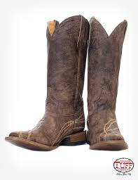 brown distressed leather riding boot with caramel embroidery and barbed wire accent