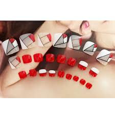 Us 1 19 25 Off 24pcs False Toe Nails French Full Toenails Feet Nail Art Fake Decoration J94 In False Nails From Beauty Health On Aliexpress