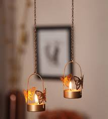 Gold Metal Single Butterfly Hanging Tea Light Holder - Set of 2 by  Orlando's Decor