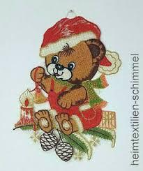 Details Zu Stickerei Fensterbild Weihnachten Fensterdeko Bärchen Weihnachtsdeko Kinder Bär