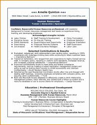 Resume Human Resources Examples Free Curriculum Vitae Cover Letter