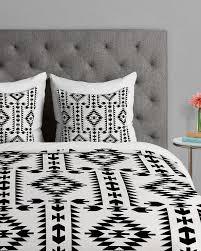 tribal geometric pattern black and white duvet cover