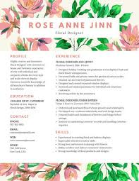 colorful floral resume cute resume templates