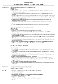 Finance Planning Analysis Resume Samples Velvet Jobs