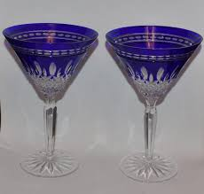 2 waterford cobalt colored crystal clarendon martini glasses 7 h mint