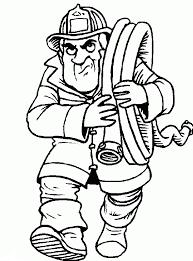 Kleurplaat Brandweerman Brengt De Slang Weg Kleurplaatjecom