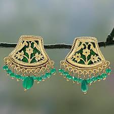 gold plated onyx chandelier earrings green glamour handmade gold sterling silver chandelier