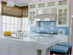 inspiring blue glass tile kitchen backsplash with white countertop