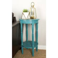 litton lane distressed teal round wooden side table