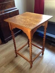 vintage oak side table lamp table 72 cm tall solid golden oak wood in