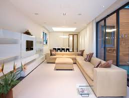 small narrow living rooms long room furniture. Gorgeous Yet Simple Living Room Interior Seductive Small Modern Ideas Brown Sectional Sofa Pillows Glass Window Narrow Rooms Long Furniture