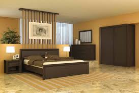 simple modern bedroom decorating ideas with calm wall color shades and contemporary dark brown oak bedroom