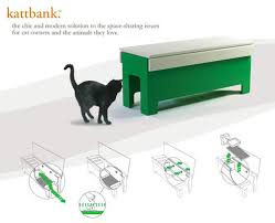 Litter box in a bench from kattbank for those that have an indoor cat  instead of