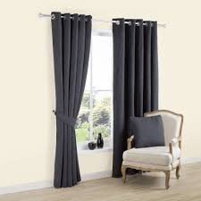 Carina Charcoal Plain Woven Eyelet Lined Curtains (W)167 cm (L)228 cm |  Departments | DIY at B&Q
