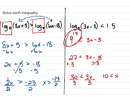 solving logarithmic equations and inequalities math algebra 2
