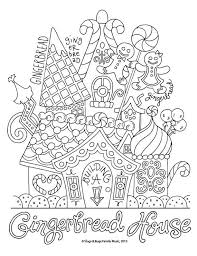 Gingerbread House Christmas Coloring Page Kids Holiday Slugs