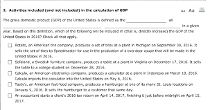 What Is Not Included In Gdp Solved Activities Included And Not Included In The Calc