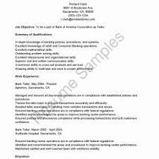 Resume Sample For Teller Position Book Of Resumes For Bank Teller
