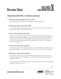 100 Resume Objective Examples For College Students B Com