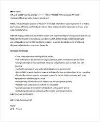 Waiter Resume New Resume Sample For Waiter
