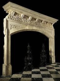 limestone tudor renaissance inglenook fireplace mantel