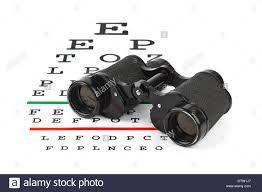 Binoculars On Eyesight Test Chart Stock Photo 66932943 Alamy