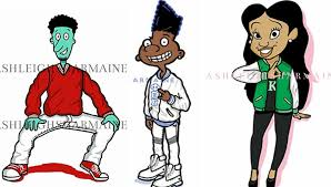 thirty 90s cartoon characters reimagined as members of black