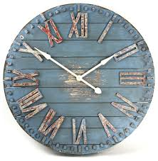rustic beach cottage blue hand painted wood metal wall clock