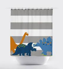 gray striped dinosaur shower curtain