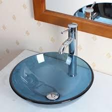 Diy Bathroom Faucet Details About Bathroom Clear Blue Glass Vessel Sink Chrome
