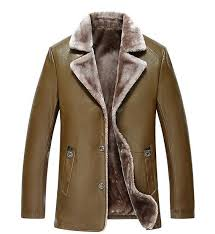 details about mens sheepskin leather jacket fur lined thicken coat outwear lapel parka warm n5