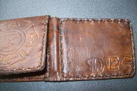 custom made custom leather money clip wallet with fireman union logo and persoalization