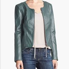 hinge leather jacket green size small