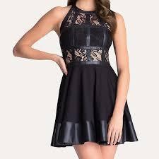 bebe tstrap dress black leather lace cocktail mini m 5a48062edaa8f67dc916fcf5