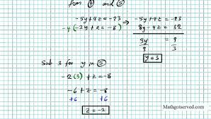 solving 3x3 systems by elimination ti 83 matrices algebra 2 precalculus substitution