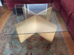 danish modern teak coffee table with x