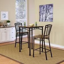 modern craftsman 3 piece deep brown bar table set
