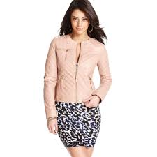 guess quilted faux leather motorcycle in pink lyst men s quilted leather jacket