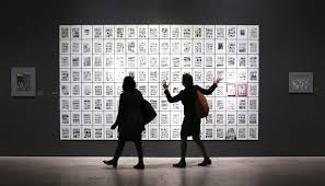 art spiegelman and the triumph of low art toronto star  ors walking past a sp of panels from maus at the ago