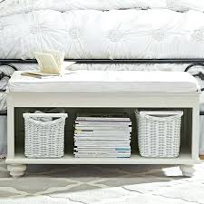 D End Of Bed Bench Cheap White Coated Wooden With Cushion  And Shelf