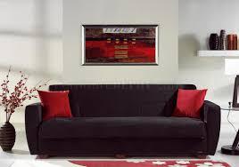 Microfiber Living Room Furniture Miami Rainbow Storage Sleeper Sofa In Black By Sunset