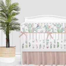 boho cactus baby girl crib bedding
