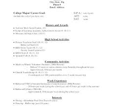 College Application Resume Sample Sample High School Student Resume