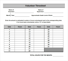 Excel Time Sheets Templates 18 Volunteer Timesheet Templates Free Sample Example