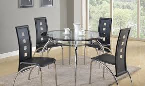 crown mark 1270 mila modern round glass table black leather dining room set 5pcs