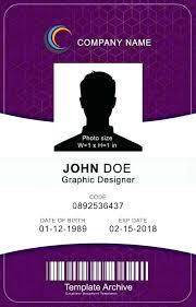 Identification Card Samples Identification Badge Template Work Templates Printable